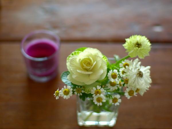 マトリカリアとアネモネ 葉牡丹
