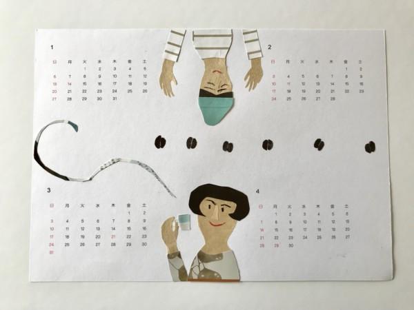 貼り絵カレンダー ハンドメイド